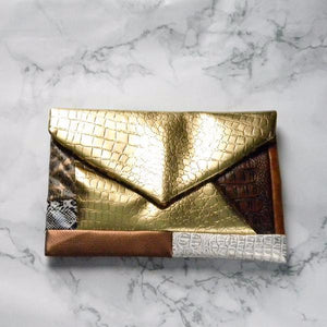 Gold Patchwork Envelope Clutch Bag