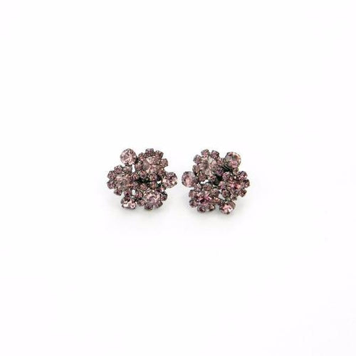 Pink Crystal Cluster Stud Earrings