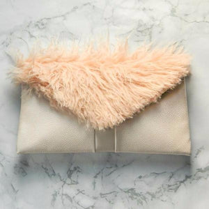 Mongolian Blush Pink Fur Pink Leather Envelope Clutch Bag