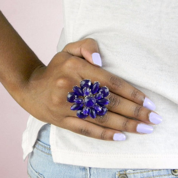Statement Purple Flower Ring