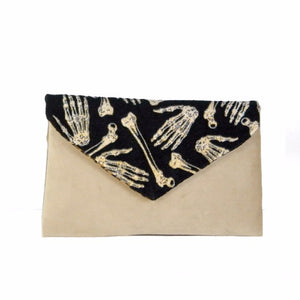 Gold Skeletal Suede Envelope Clutch Bag