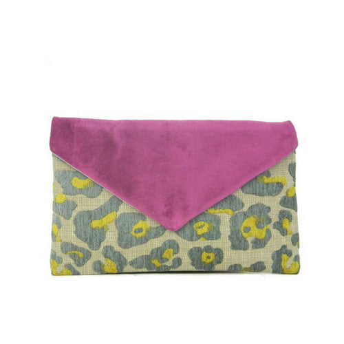 Orchid Leopard Print Envelope Clutch Bag