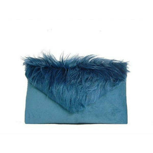 Ombre Teal Fur Suede Envelope Clutch Bag