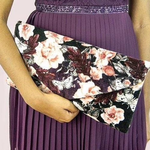 Pink Rose Envelope Clutch Bag