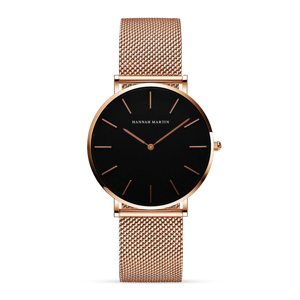 Tribeca Jet Black - Rose Gold Mesh