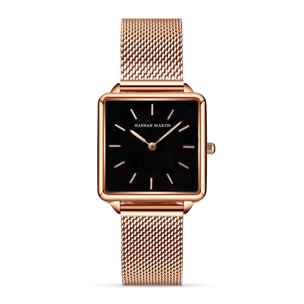 Onyx Jet Black - Rose Gold Mesh