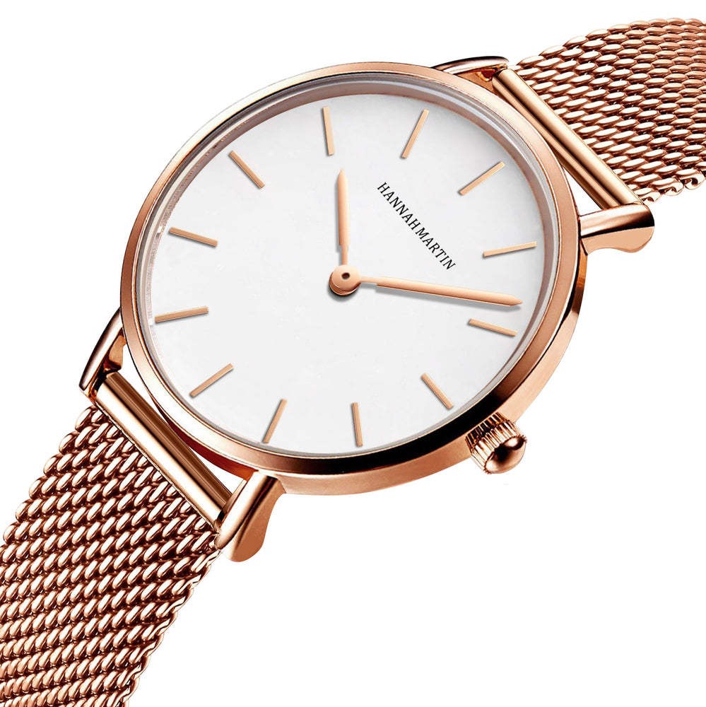 Tribeca White - Rose Gold Mesh