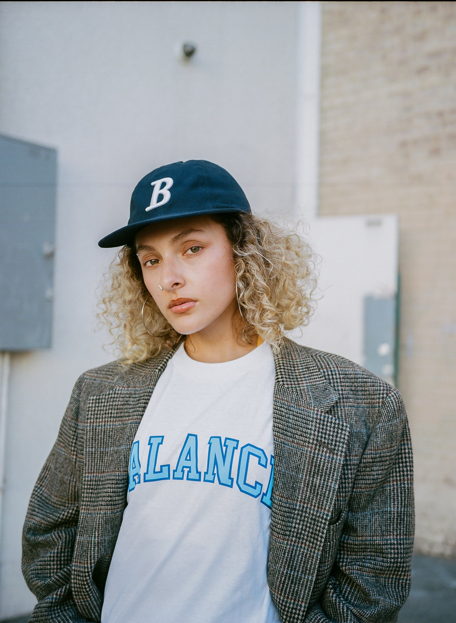 "Navy 8 Panel ""B"" Logo Cap"