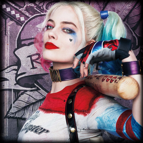 Harley Quinn Close Up Profile on Travertine Coaster