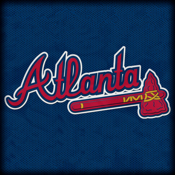 Atlanta Braves Logo with Jersey Textured Background on Travertine Coaster