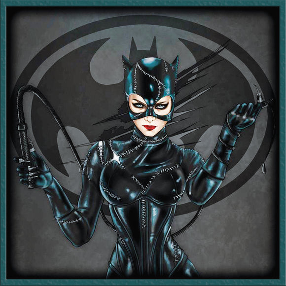 Cat Woman from Batman Series on Travertine Coaster