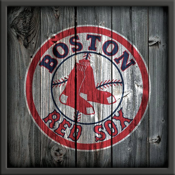 Boston Red Sox with Rustic Background on Travertine Stone Tile