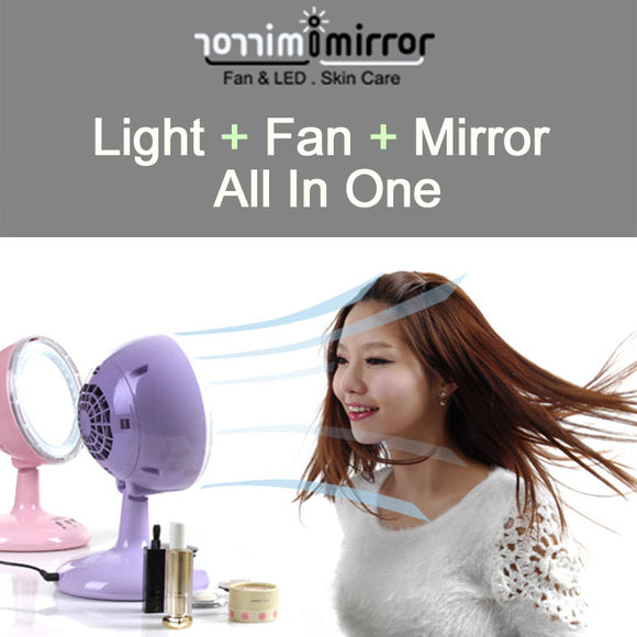 [Imirror] LED + Fan + Mirror All In One Makeup Mirror (Pink) - HotDeal.Koreadaily