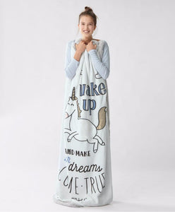 Blanket - Wake Up And Make Your Dreams Unicorn Blanket
