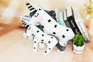 Pillow - White And Black Unicorn Pillow