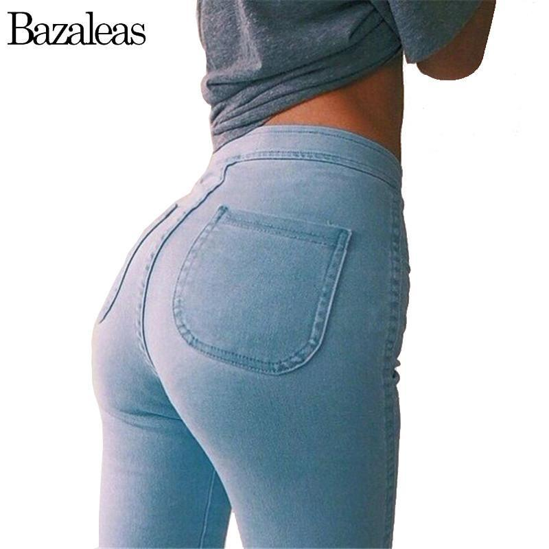 Bazaleas Autumn Style High Waist Washed Jeans-Women's Clothing and Accessories-Balabe