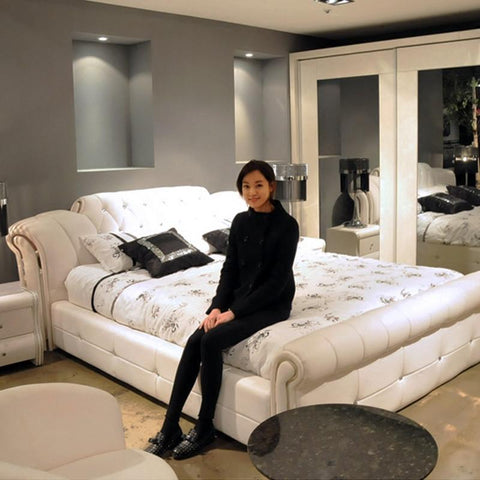 1.5 m 1.8 m White European Leather bed-Furniture-Balabe