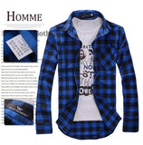 Hot Sale Men's Vintage Plaid Check Long Sleeve Shirt-Balabe