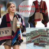 Women Poncho Prorsum Cashmere Wool Scarf Monogramed-Women's Clothing and Accessories-Balabe