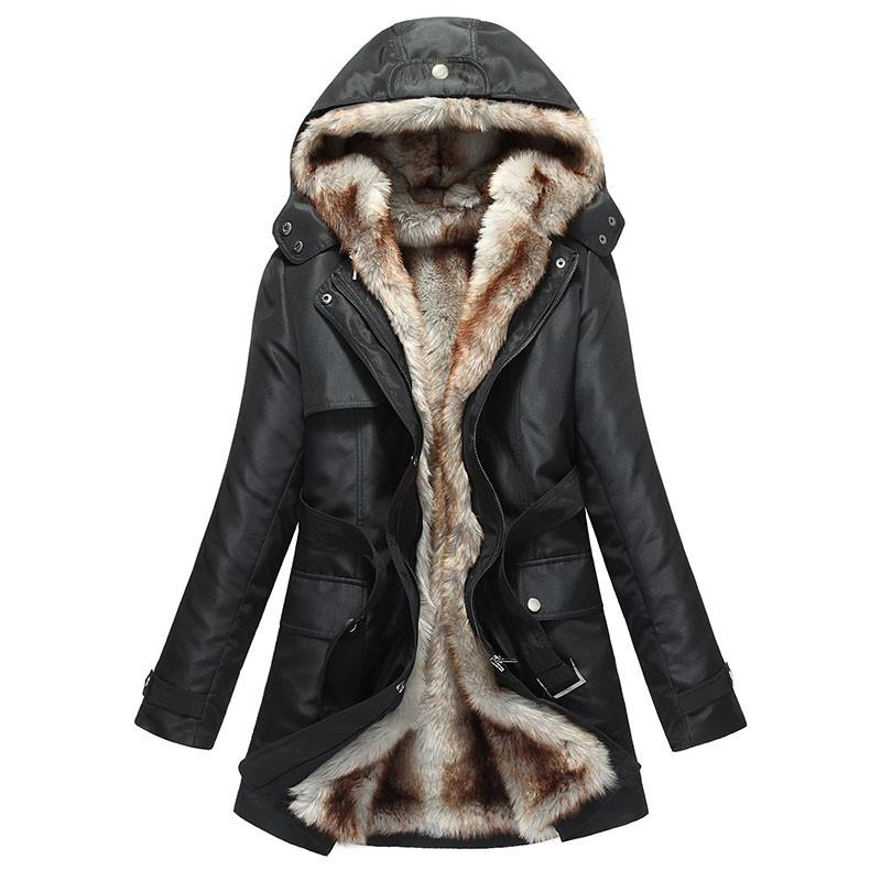 Women's Winter Coat Faux Fur Parka Hooded-Women's Clothing and Accessories-Balabe