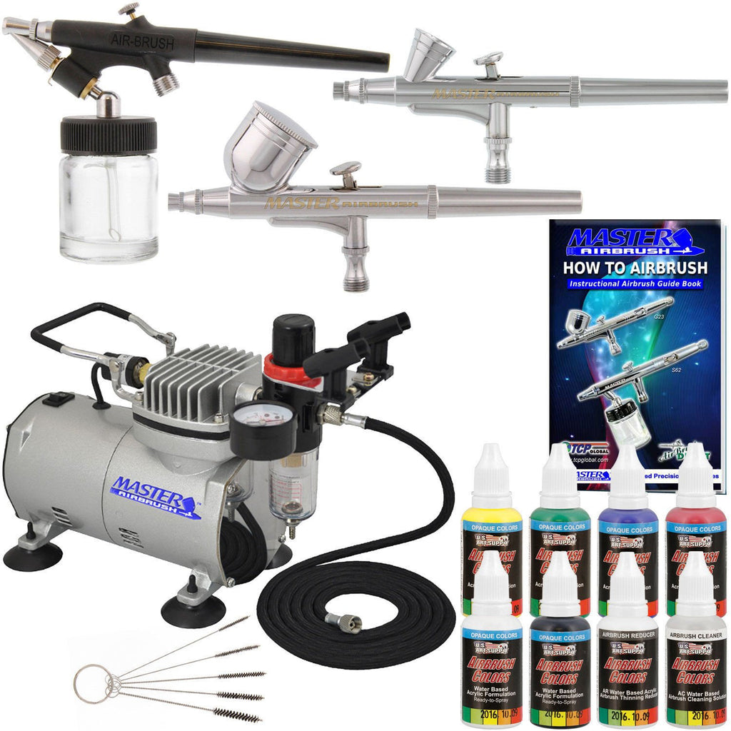New 3 Airbrush Kit 6 Primary Colors-Air Brush-Balabe