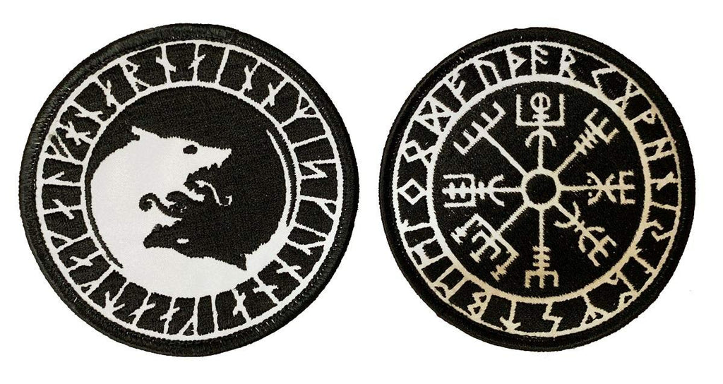 Iron on Sew on -REF1 Reflective Viking Odin Compass Vegvisir Patch