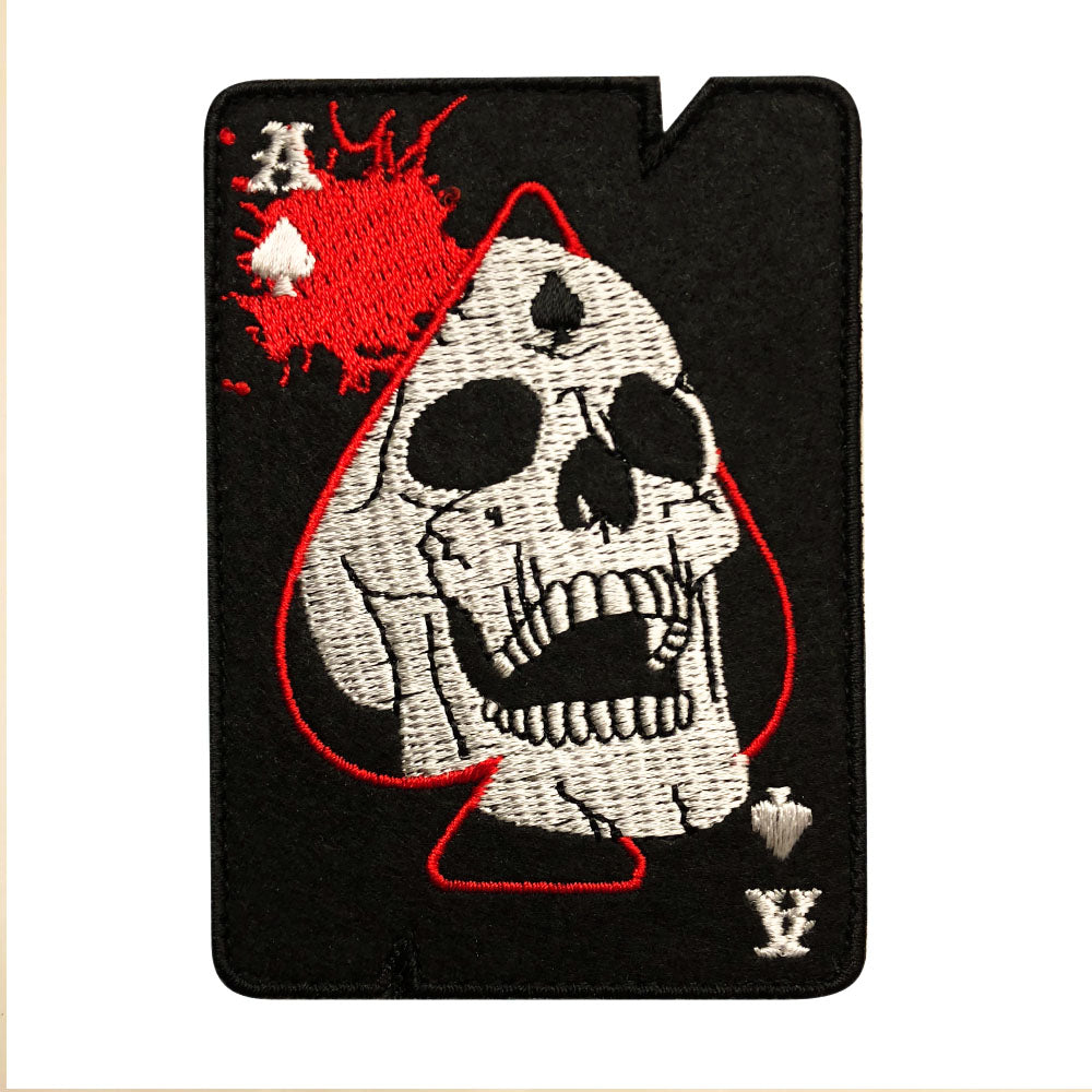 Ace Of Spades Death Card Skull Patch (Embroidered Hook