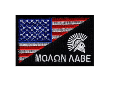 d013da7459d American Flag Molon Labe Spartan Patch (Embroidered Hook) Full Color