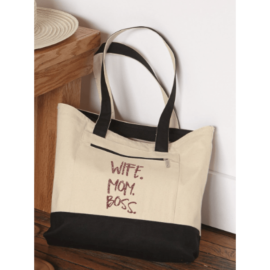 68b64eaec Zippered Canvas Tote Bag Wife. Mom. Boss. in Rose Gold Glitter ...