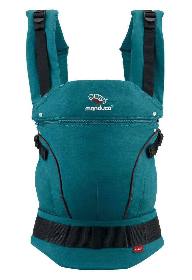 manduca first hemp/cotton carrier - petrol/brown & BACK IN STOCK MID JUNE