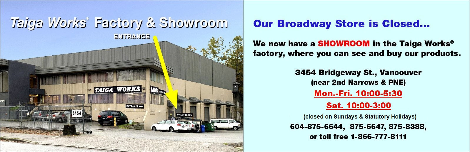 Showroom outside picture  - Taiga Works