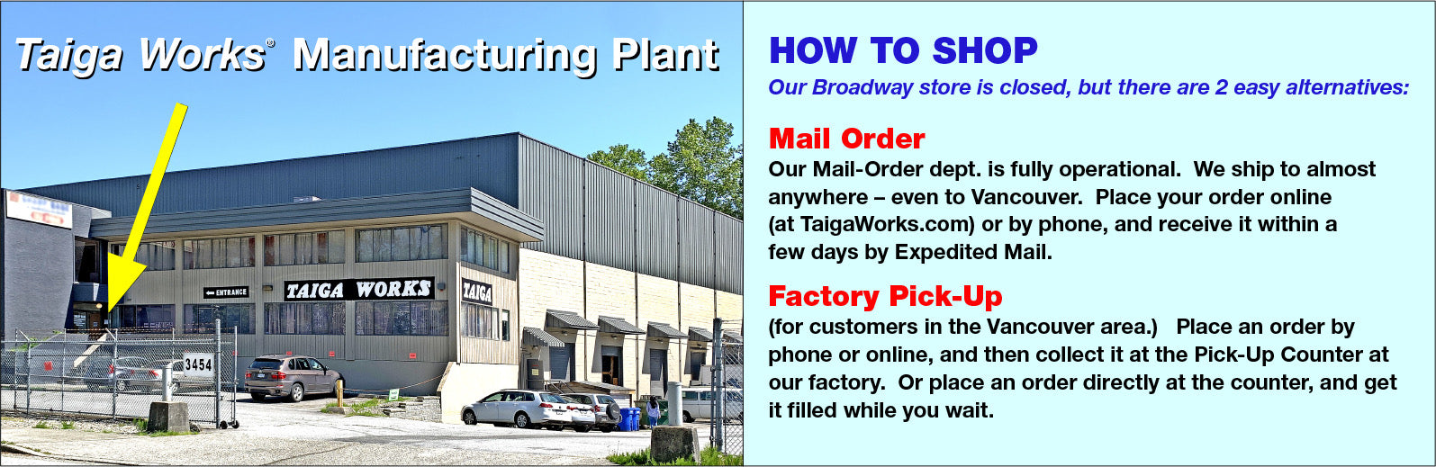 Taiga Works Pick Up Counter and How to Shop