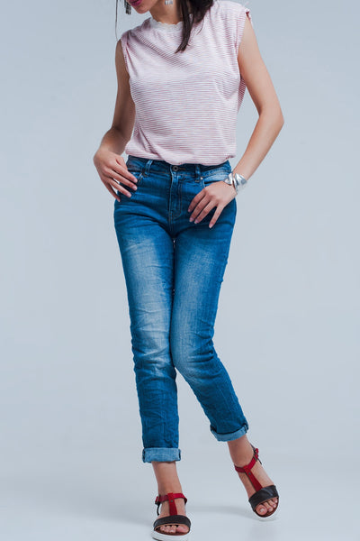 Skinny Jeans With Crinkle Effect - steele-gray-rose