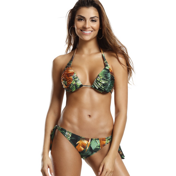 Rainforest Adjustable Bikini Set - steele-gray-rose