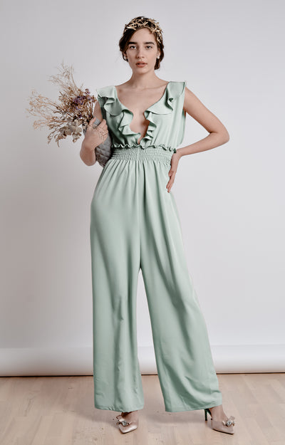 The Mint Ruffle  Jumpsuit - Bastet Noir - steele-gray-rose