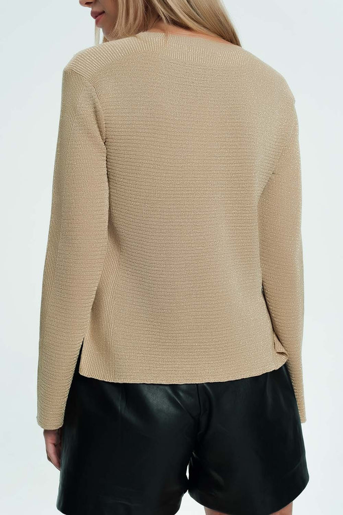 Beige Sweater With Ribbed and Knit Detail