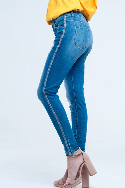 Skinny Jeans With Rips and Glitter Line - steele-gray-rose