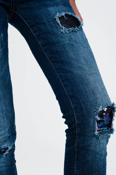 Jeans With Sequins and Rips - steele-gray-rose