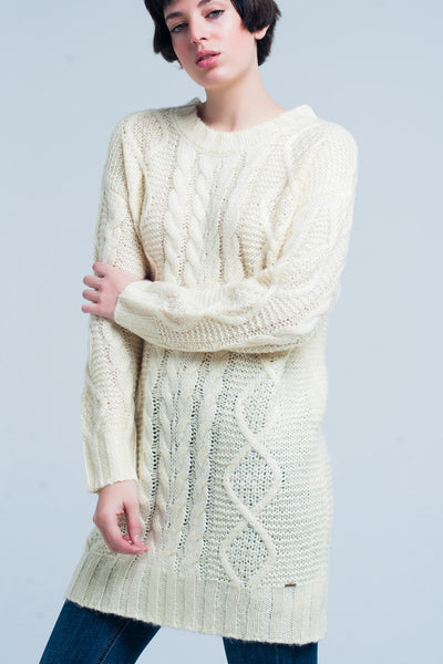 Yellow Cable Knitted Mini Dress - steele-gray-rose