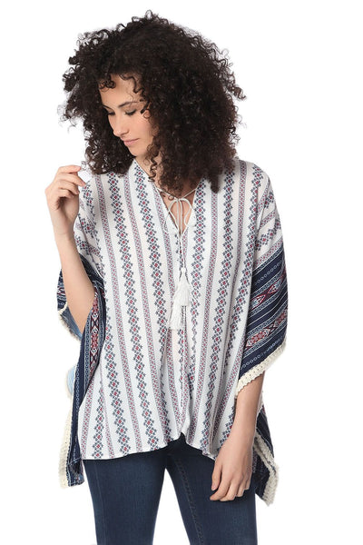 Navy Oversized Poncho Top in Tribe Print - steele-gray-rose