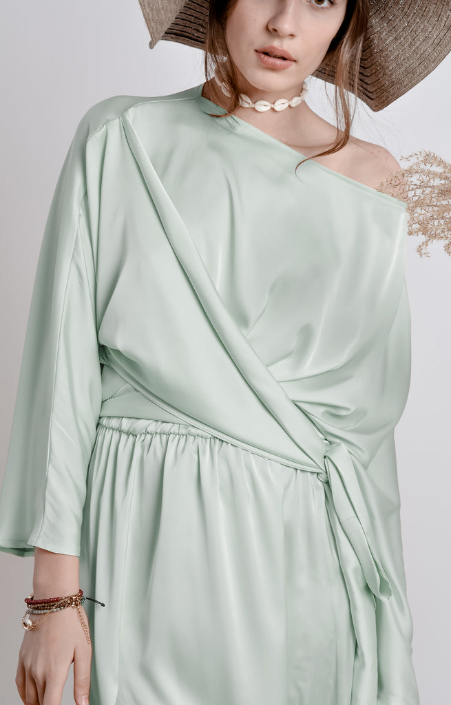 Mint Shirt Bridesmaid Dress - Bastet Noir