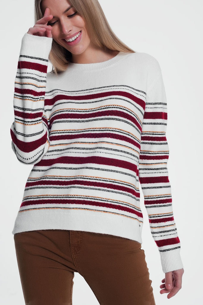 Maroon Knitted Sweater With Stripes