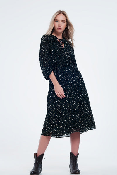 Plisse Midi Dress With Elasticated Waist in Polka Dot - steele-gray-rose