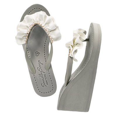 Rockaway (White) - Women's High Wedge - steele-gray-rose