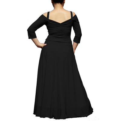 Evanese Women's Plus Size Elegant Long Formal Evening Dress With 3/4 Sleeves - steele-gray-rose