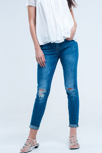 Skinny Elastic Jeans With Rips - steele-gray-rose