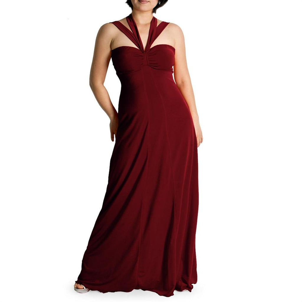 Evanese Women's Plus Size Elegant Cross Tie Halter Long Formal Party Dress