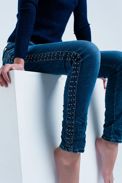 Boyfriend Blue Jeans With Tacks Detail - steele-gray-rose
