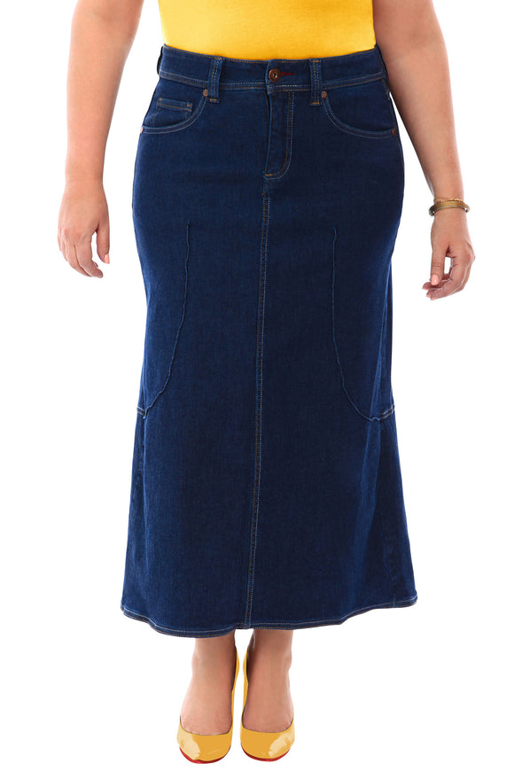 360 Stretch Tulip Maxi Skirt in Blue Depths - steele-gray-rose