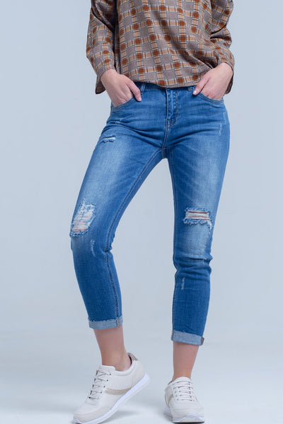 Jean Skinny With Rips on the Legs - steele-gray-rose